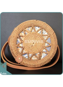 Star Pattern Rattan Bag With Batik Cloth Inside