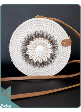 Sea Shell White Round Rattan Bag