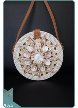 Sea Shell Star Pattern With Round Rattan Bag