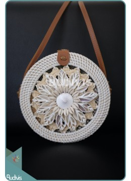 Sea Shell Flower Pettern And Braided Round Rattan Bag