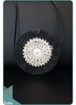 Black Plain Rattan Bag With Sea Shell Decoration
