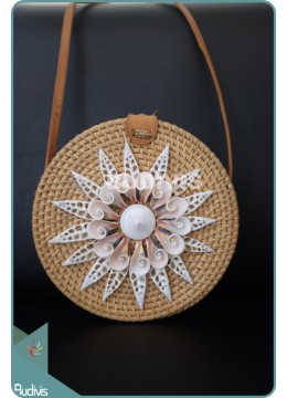 Sea Shell Star Pattern With Natural Round Rattan Bag