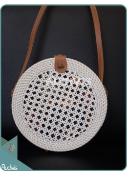 White Round Rattan Bag With Woven Net