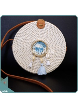 White Round Rattan Bag With Blue And White Dreamcatcher