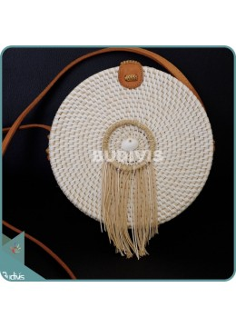 White Round Rattan Bag With Brown Dangling Dreamcatcher