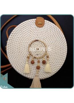 White Round Rattan Bag With Mini Brown Three Dangling Dreamcatcher
