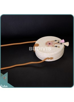 White Round Rattan Bag With Pink And Brown Dangling Dreamcatcher
