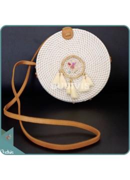 Cream Round Rattan Bag With Mini Dreamcatcher