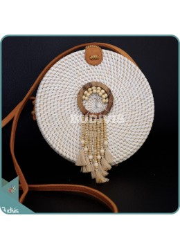 White Round Rattan Bag With Brown Beads Dreamcatcher