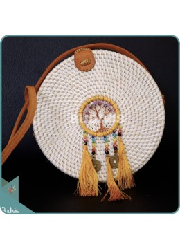 White Round Rattan Bag With Yellow Beads Dreamcatcher