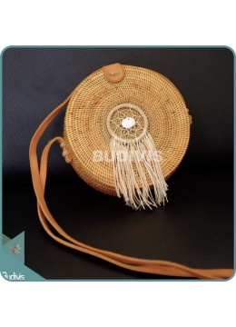 Natural Solid Round Rattan Bag With Brown Dangling Dreamcatcher
