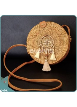 Natural Solid Round Rattan Bag With Beads Mini Dreamcatcher