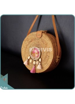 Natural Solid Round Rattan Bag With Pink And White Mini Dreamcatcher