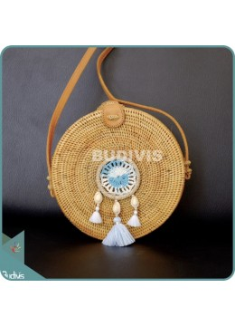 Natural Solid Round Rattan Bag With Blue And White Mini Dreamcatcher