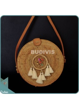 Natural Solid Round Rattan Bag With Rattan Mini Dreamcatcher