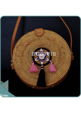 Natural Solid Round Rattan Bag With Black And Pink Dreamcatcher