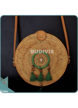 Natural Solid Round Rattan Bag With Green Dreamcatcher