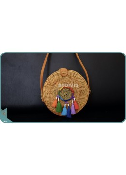 Natural Solid Round Rattan Bag With Rainbow Colour Dreamcatcher