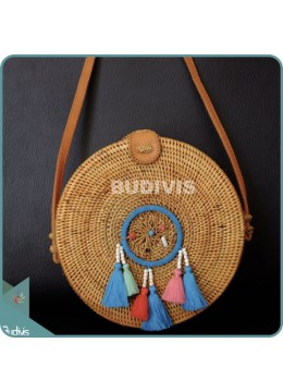 Natural Solid Round Rattan Bag With Multi Colour Dreamcatcher
