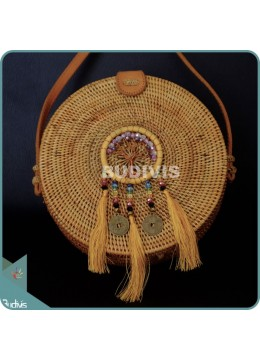 Natural Solid Round Rattan Bag With Yellow Mini Dreamcatcher