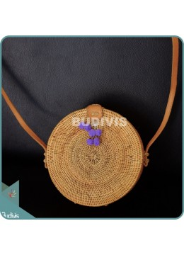 Natural Solid Round Rattan Bag With Purple Hanging Decor