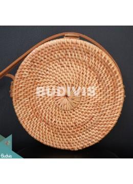 Natural Solid Plain Round Rattan Bag