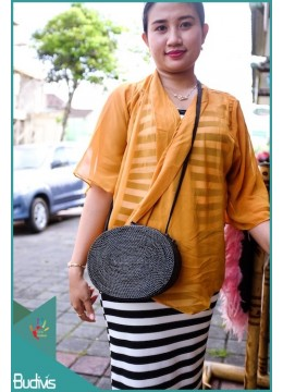 Black Oval Rattan Bag  With Leather Strap