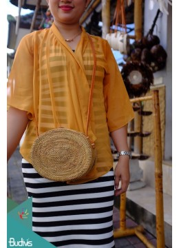 Natural Oval Rattan Bag With Leather Strap