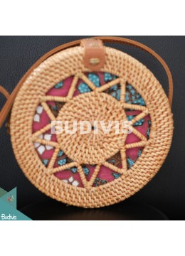 Natural Rattan Bag With Leather Strap