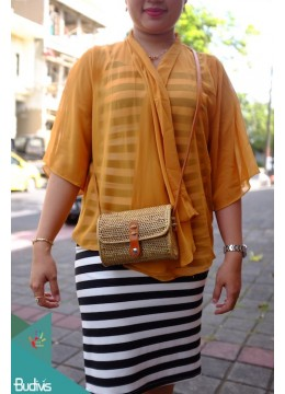 Wallet Rattan Bag With Leather Strap