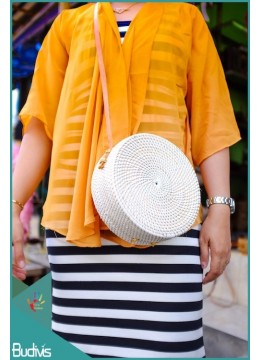 White Rattan Bag With Leather Strap