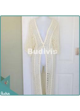 Long White Knitting Cardigan