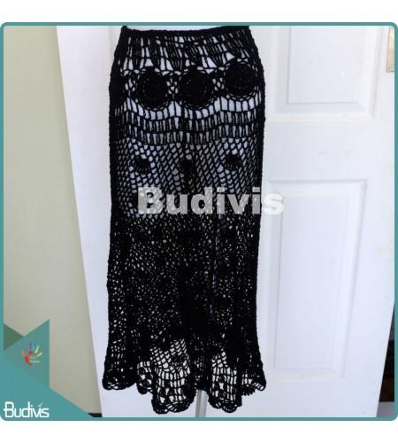 Long Black Knitting Skirt