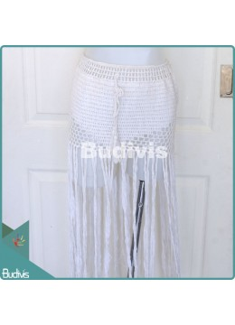 White Tassel Knitting Skirt