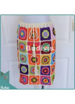 Colourful Square Knitting Skirt