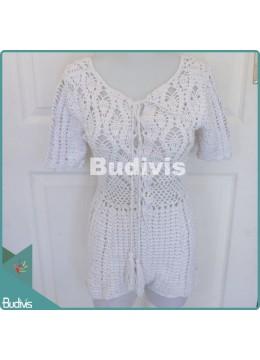 White Knitting Jumpsuit For Summer