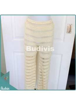 White Knitting Long Pants