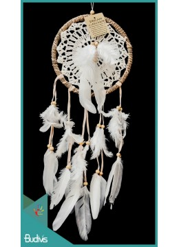 Dream Catcher Macrame Natural Root With Feather On The Center