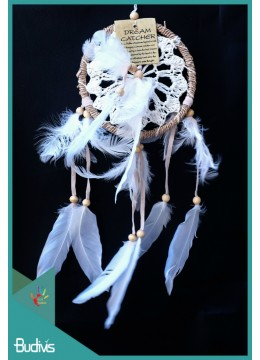 Dream Catcher White With Feather On The Center