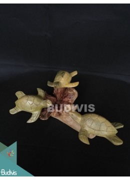 Animal Wood Carved Sea Turtle Family Manufacture