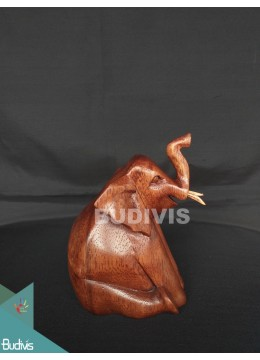 Best Seller Wood Carved Sitting Elephant From Indonesia