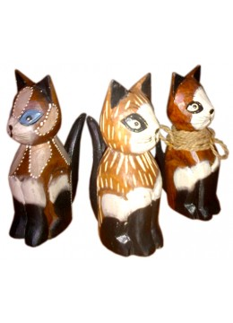 Wood Painted Cat Statue