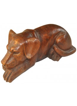 Wood Carving Dog Statue