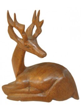 Wood Carving Deer Statue