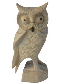 Wood Carving Owl Statue
