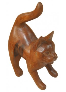 Wood Carving Cat Statue