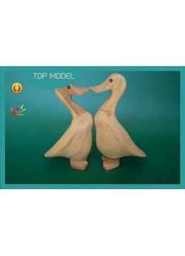 NEW! Factory Price Natural Wood Ducks Couple Interior Ornament