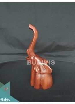 Direct Artisans Wood Carved Sitting Elephant Affordable