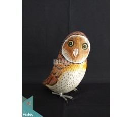 Wholesale Figurine Realistic Burrowing Owl Wooden Birds Carving Hand Painted Garden Decor