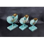Green Painted Sea Shell Wood Carved Home Decoration